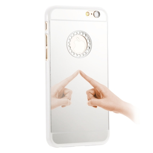 Mirror Design PC Hard Case for iPhone 6 Plus with Rhinestone Embedded (White)
