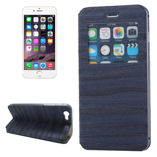 2 in 1 Metal Bumper Frame Leather Case for iPhone 6 Plus with Caller ID Display (Blue)