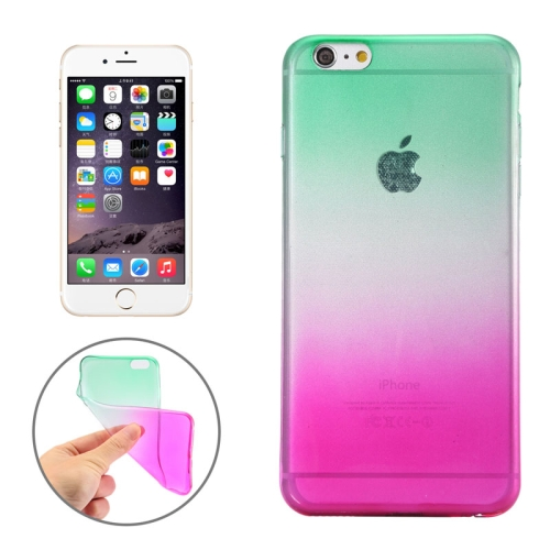 New Arrival Gradient Color Style Protective TPU Case for iPhone 6 Plus (Green)