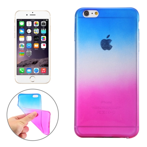 New Arrival Gradient Color Style Protective TPU Case for iPhone 6 Plus (Blue)