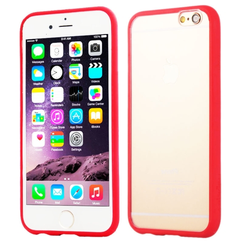 Protective TPU and Acrylic Transparent Hybrid Cover Case for iPhone 6 Plus (Red)