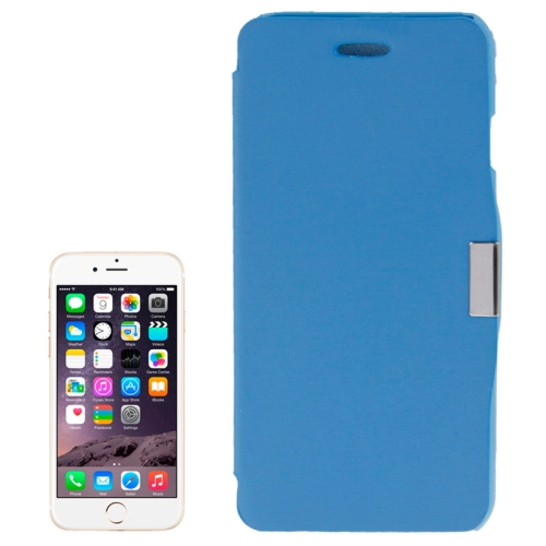 Brush Texture Flip Stand Leather Case for iPhone 6 Plus with Logo Hole (Blue)