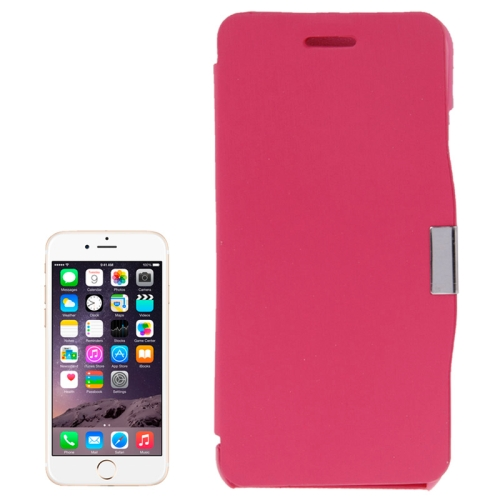 Brush Texture Flip Stand Leather Case for iPhone 6 Plus with Logo Hole (Rose)