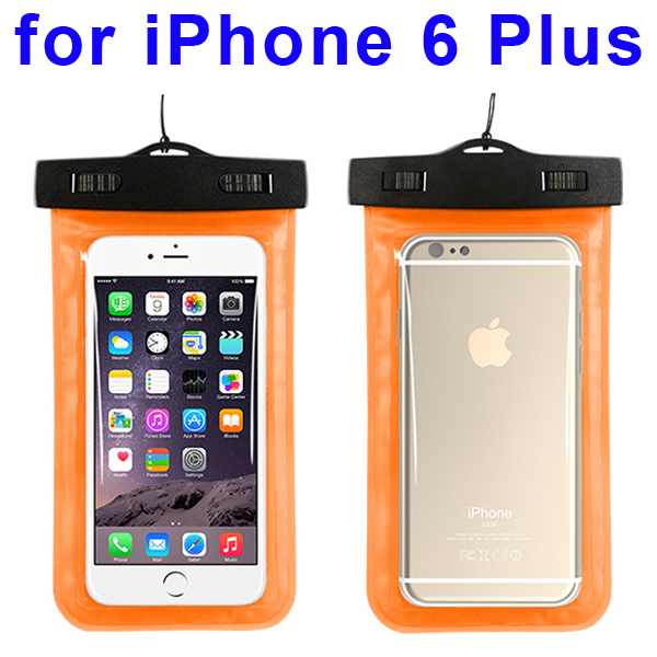 Universal PVC IPX8 Waterproof Bag for iPhone 6 Plus, and Other Smart Phones in Similar Sizes (Orange)