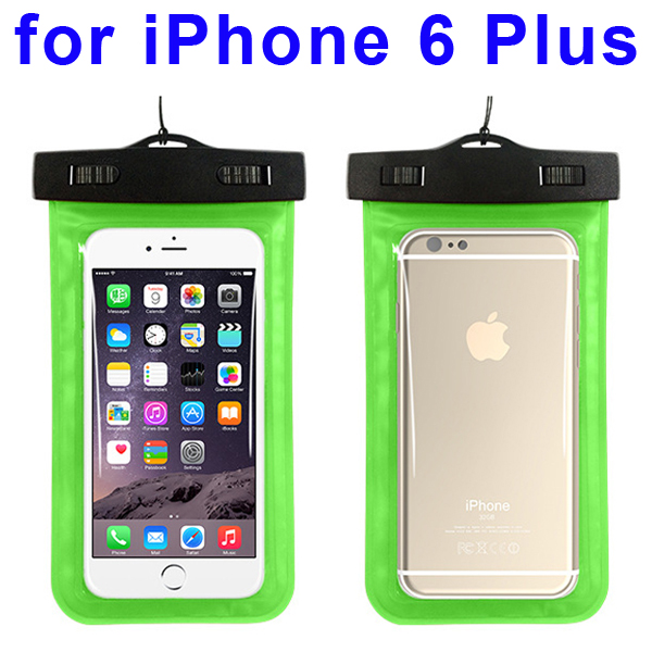 Universal PVC IPX8 Waterproof Bag for iPhone 6 Plus, and Other Smart Phones in Similar Sizes (Green)