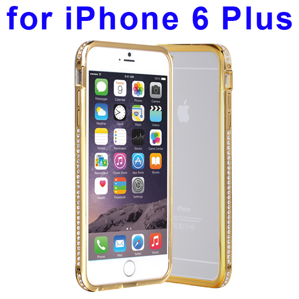 Luxury Diamond-studded Pattern Metal Bumper Frame Case for iPhone 6 Plus (Golden)