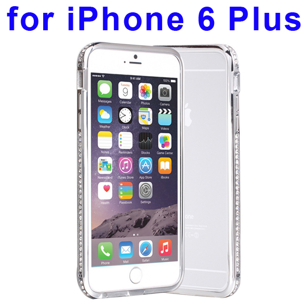 Luxury Diamond-studded Pattern Metal Bumper Frame Case for iPhone 6 Plus (Silver)