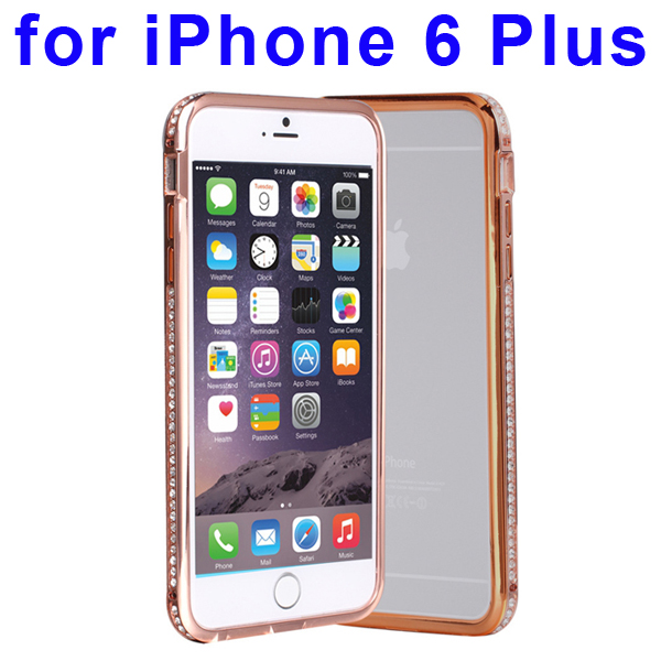 Luxury Diamond-studded Pattern Metal Bumper Frame Case for iPhone 6 Plus (Rose Golden)