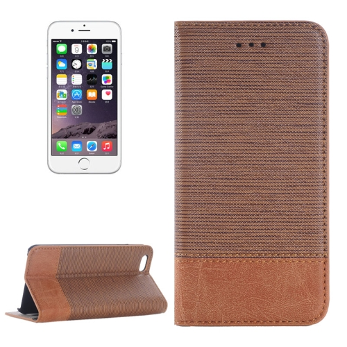 Cross Texture Wallet Style Leather Case for iPhone 6 Plus with Holder and Card Slots (Coffee)