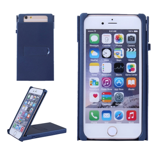 Concise Style Solid Color Hard Case for iPhone 6 Plus with Holder (Dark Blue)