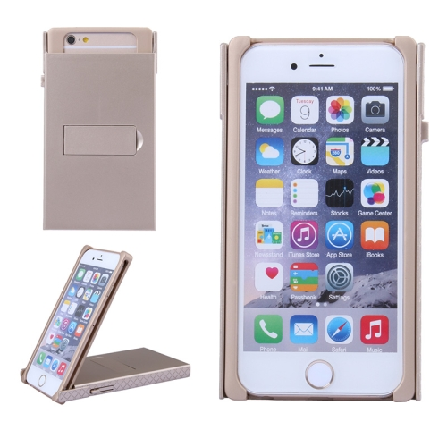 Concise Style Solid Color Hard Case for iPhone 6 Plus with Holder (Gold)