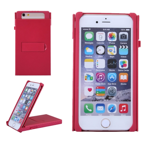 Concise Style Solid Color Hard Case for iPhone 6 Plus with Holder (Red)