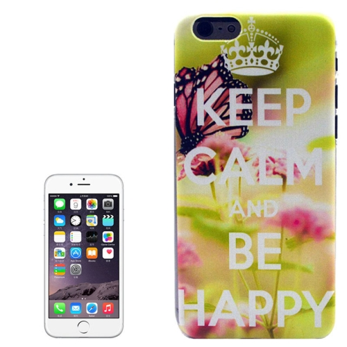 Color Pattern Transparent Frame Colored Drawing PC Case for iPhone 6 Plus (Keep Calm and Be Happy)