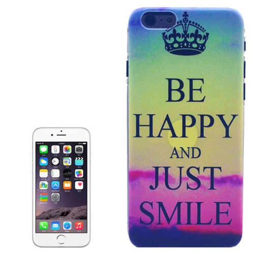 Color Pattern Transparent Frame Colored Drawing PC Case for iPhone 6 Plus (Be Happy and Just Smile)