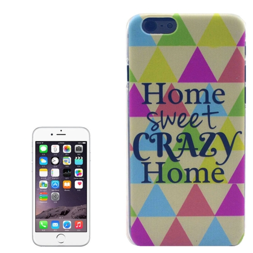 Color Pattern Transparent Frame Colored Drawing PC Case for iPhone 6 Plus (Home Sweet And Crazy Home)