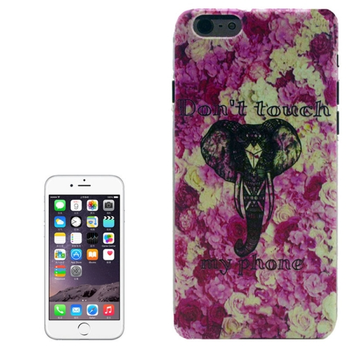 Color Pattern Transparent Frame Colored Drawing PC Case for iPhone 6 Plus (Elephant)