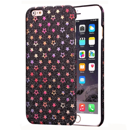 Flash Powder Series Colorful Shiny Star Pattern PU Leather Coated Plastic Case for iPhone 6 Plus (Black)
