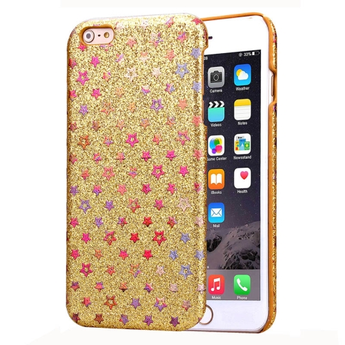 Flash Powder Series Colorful Shiny Star Pattern PU Leather Coated Plastic Case for iPhone 6 Plus (Gold)
