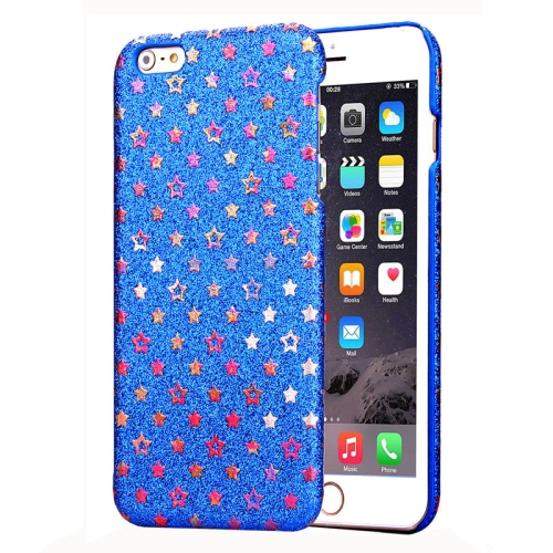 Flash Powder Series Colorful Shiny Star Pattern PU Leather Coated Plastic Case for iPhone 6 Plus (Blue)