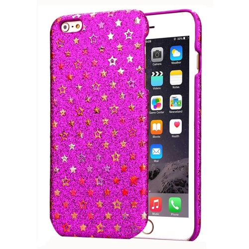 Flash Powder Series Colorful Shiny Star Pattern PU Leather Coated Plastic Case for iPhone 6 Plus (Rose)