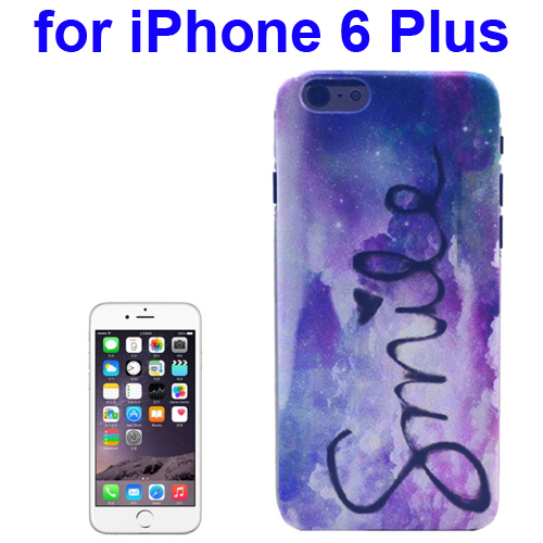 Transparent Frame Colored Drawing PC Case for iPhone 6 Plus (Smile Pattern)