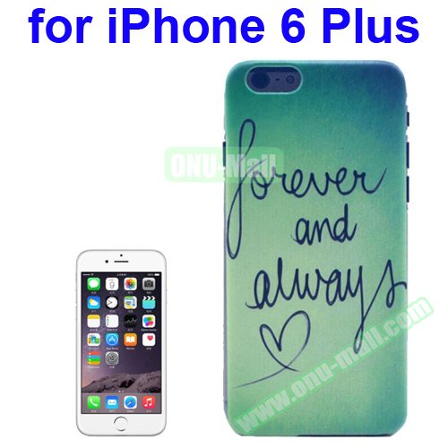 Transparent Frame Colored Drawing PC Case for iPhone 6 Plus (Forever & Always Pattern)