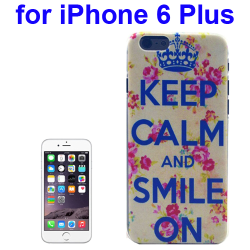 Transparent Frame Colored Drawing PC Case for iPhone 6 Plus (Keep Calm And Smile On Pattern)