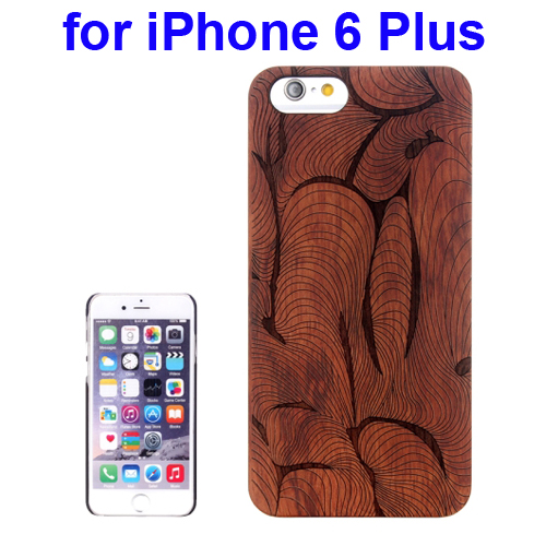 Protective Rosewood Wood Paste PC Hard Case for iPhone 6 Plus (Abstract Carved Pattern)