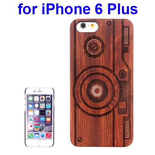 Protective Rosewood Wood Paste PC Hard Case for iPhone 6 Plus (Camera Carved Pattern)