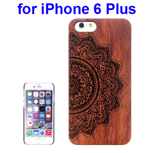 Protective Rosewood Wood Paste PC Hard Case for iPhone 6 Plus (Ethnic Flower Carved Pattern)