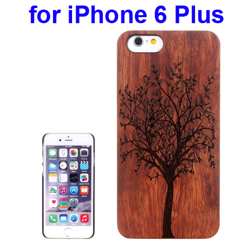 Protective Rosewood Wood Paste PC Hard Case for iPhone 6 Plus (Tree Carved Pattern)