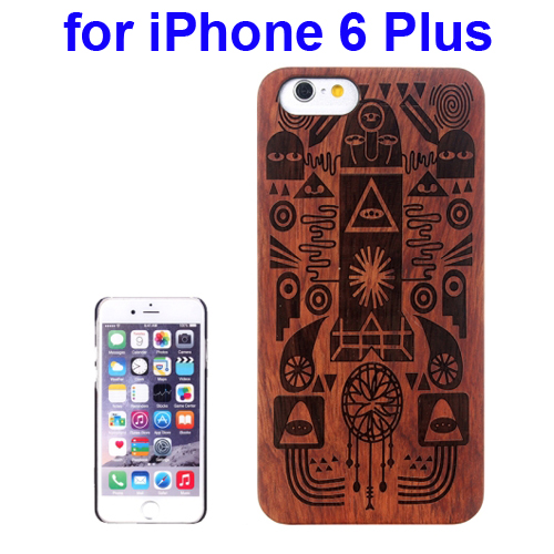 Protective Rosewood Wood Paste PC Hard Case for iPhone 6 Plus (Cartoon Carved Pattern)