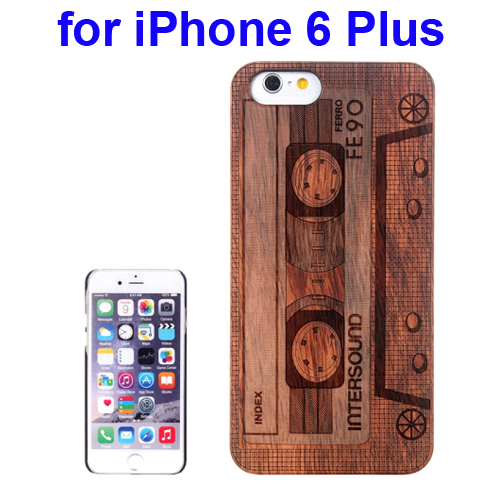 Protective Rosewood Wood Paste PC Hard Case for iPhone 6 Plus (Darker Casette Carved Pattern)