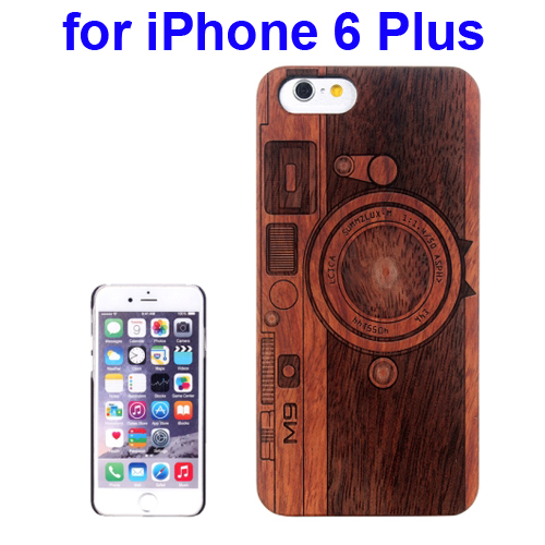 Protective Rosewood Wood Paste PC Hard Case for iPhone 6 Plus (Darker Camera Carved Pattern)