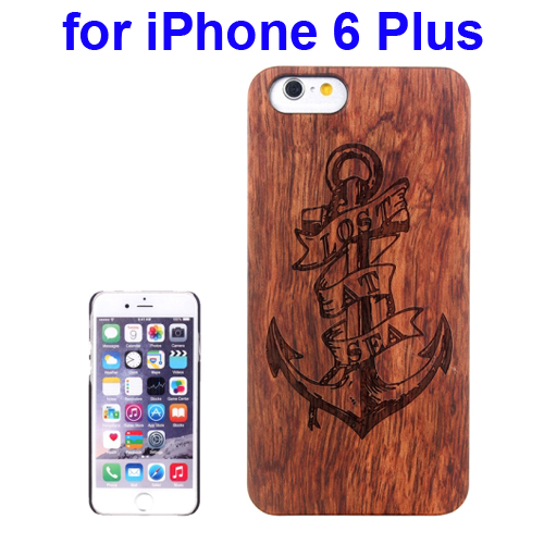 Protective Rosewood Wood Paste PC Hard Case for iPhone 6 Plus (Anchor Carved Pattern)
