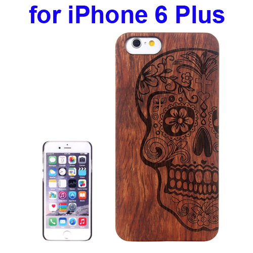 Protective Rosewood Wood Paste PC Hard Case for iPhone 6 Plus (Skull Carved Pattern)
