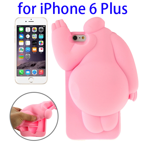 Cute Design 3D Baymax Pattern Protective Silicone Case for iPhone 6 Plus (Pink)