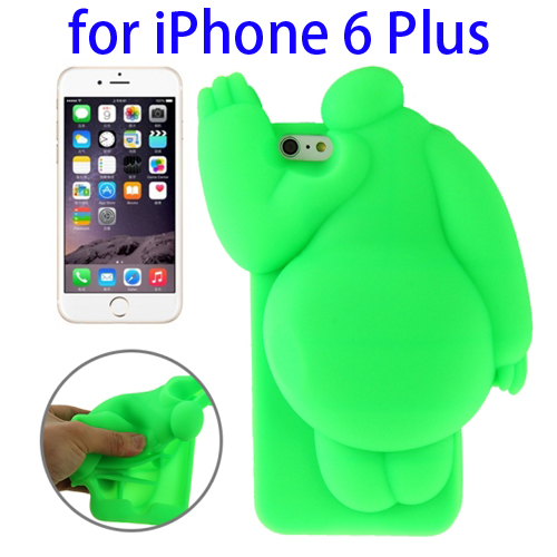 Cute Design 3D Baymax Pattern Protective Silicone Case for iPhone 6 Plus (Green)