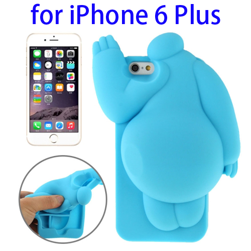 Cute Design 3D Baymax Pattern Protective Silicone Case for iPhone 6 Plus (Blue)