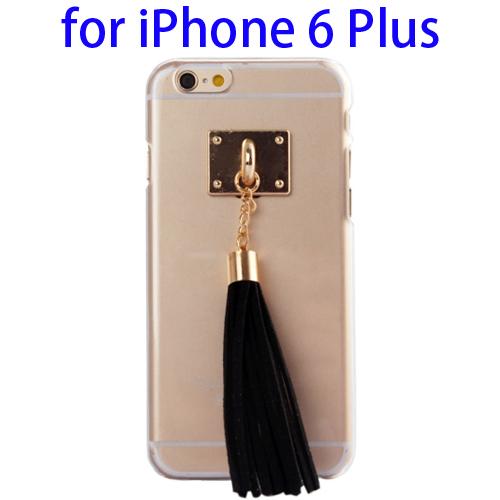 Creative Tassels Ornament Transparent Protective Hard PC Case for iPhone 6 Plus (Black)