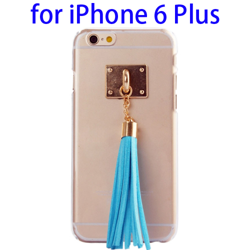 Creative Tassels Ornament Transparent Protective Hard PC Case for iPhone 6 Plus (Blue)