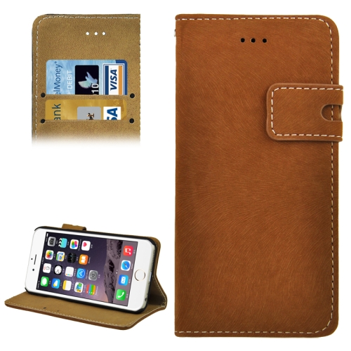 Angibabe Frosted Horizontal Wallet Style PU Leather Cell Phone Case Cover for iPhone 6 Plus (Brown)