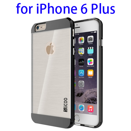 Electroplating Style Brushed Texture TPU and PC Hybrid Protective Cover for iPhone 6 Plus (Black)