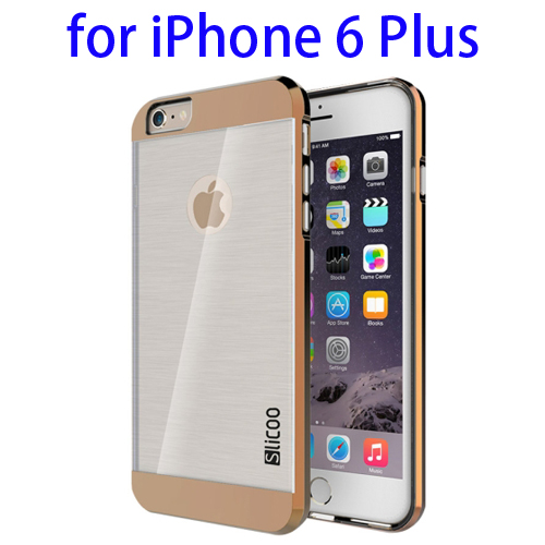 Electroplating Style Brushed Texture TPU and PC Hybrid Protective Cover for iPhone 6 Plus (Coffee)