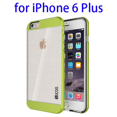 Electroplating Style Brushed Texture TPU and PC Hybrid Protective Cover for iPhone 6 Plus (Green)
