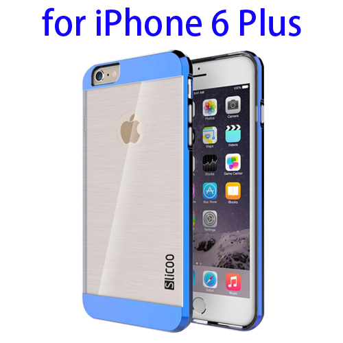 Electroplating Style Brushed Texture TPU and PC Hybrid Protective Cover for iPhone 6 Plus (Blue)