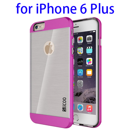 Electroplating Style Brushed Texture TPU and PC Hybrid Protective Cover for iPhone 6 Plus (Rose)