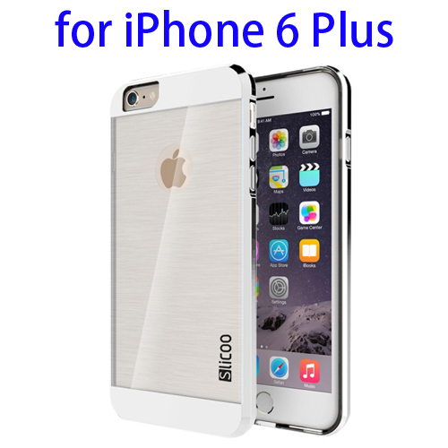 Electroplating Style Brushed Texture TPU and PC Hybrid Protective Cover for iPhone 6 Plus (Silver)