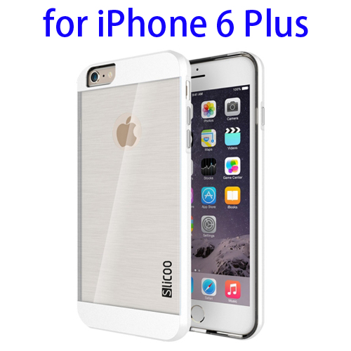 Electroplating Style Brushed Texture TPU and PC Hybrid Protective Cover for iPhone 6 Plus (White)