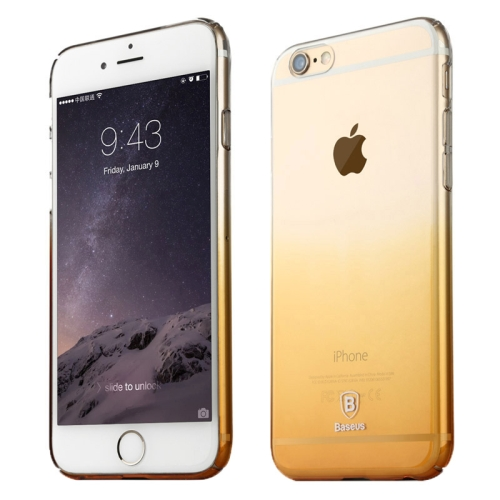 Baseus Transparent Gradient Color 0.75mm Ultra-thin Soft PC Protective Case for iPhone 6 (Gold)